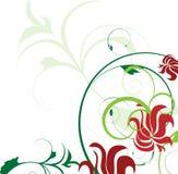 dekoraci kwiatów zielona czerwień ilustracja wektor