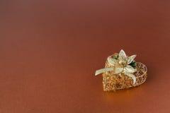 dekoraci złota serce Zdjęcia Stock
