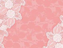 dekoracj projekta elementu zaproszenia koronka projekta szablonu próbki ślubni zaproszenia i karty Biel koronka na różowym tle royalty ilustracja