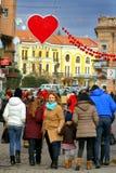 Dekoracja centrum miasta w wigilię walentynki ` s dnia Obrazy Stock