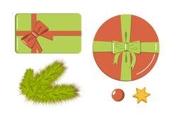 Dekoracja elementów mieszkania stylu set ikony prezentów pudełka, realistyczne jodeł gałąź, gwiazda i czerwień koralik dla projek ilustracji