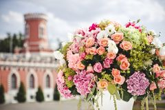 Dekoracja ślubów kwiaty Fotografia Royalty Free