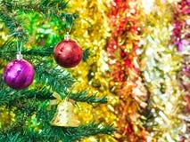 Dekoracja na poinseci i bożonarodzeniowe światła Zdjęcia Stock