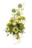 Dekoracja sztuczny plastikowy kwiat z rocznika projekta wazą Zdjęcia Stock