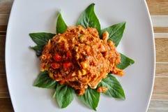 Dekoracja Tajlandzki jedzenie, Tajlandzki jedzenie, Tajlandzki korzenny łososiowy sałatki, gorącego, korzennego i wyśmienicie, Zdjęcie Royalty Free