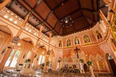 Dekoracja Wśrodku kościół rzymsko-katolicki przy Chanthaburi Provi Zdjęcie Stock