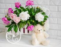 Dekoracja z peonia kwiatami zdjęcie royalty free