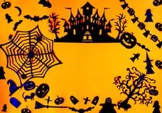 Dekoracje dla Halloween przyjęcia Handmade papieru wystrój Świąteczny kartka z pozdrowieniami, plakat, sztandaru projekt fotografia stock