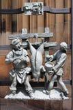 Dekoracje w gothic bramie St Vitus katedra w Praga zdjęcia royalty free