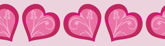 Dekoracyjna bezszwowa granica z jaskrawymi różowymi sercami walentynka dzień Zdjęcie Royalty Free