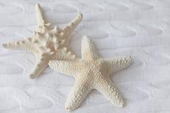 Dekoracyjna biała rozgwiazda na tle trykotowe tkaniny Fotografia Royalty Free