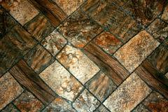 Dekoracyjna ściana z rectangel kamieniami Brown tekstura Obraz Royalty Free