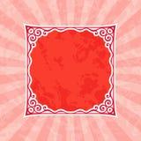 Dekoracyjna Czerwona rocznik rama, tło i royalty ilustracja