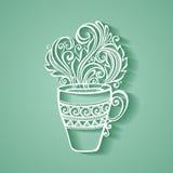 Dekoracyjna filiżanka kawy z kontrparą Fotografia Royalty Free