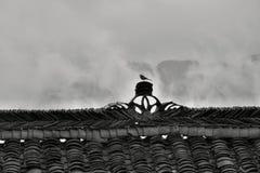 Dekoracyjna grań stary chińczyka dom z małym ptakiem jest usytuowanym na nim Fotografia Royalty Free
