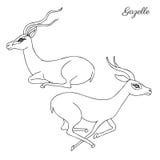 Dekoracyjna graficzna ręka rysująca gazeli kreskówki wektorowego doodle zwierzęca ilustracja, bieg i siedzący Afrykański safari, Fotografia Royalty Free