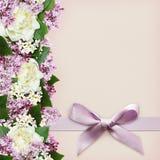 Dekoracyjna granica od kwiatów i jedwabniczego łęku Obrazy Stock