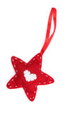 Dekoracyjna gwiazda z koronką odizolowywającą na bielu Zdjęcia Royalty Free