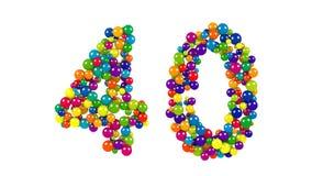 Dekoracyjna jaskrawy barwiąca liczba 40 Fotografia Stock