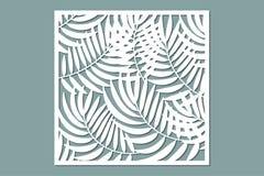 Dekoracyjna karta dla ciąć Palmowego liścia wzór Laseru cięcie ilustracja wektor
