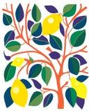 Dekoracyjna karta z cytrynami i liśćmi ilustracji