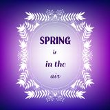 Dekoracyjna karta z ramą &-x22 i wycena; Wiosna jest w air&-x22; ilustracja wektor