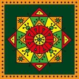 Dekoracyjna kolorowa etniczna różyczka na ciemnozielonym tle Zdjęcia Stock