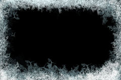 Dekoracyjna lodowych kryształów rama na czarnym matte tle Obraz Stock