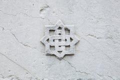Dekoracyjna marmurowa różyczka tło szczegółów tekstury okno stary drewniane Zdjęcia Stock