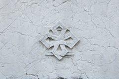 Dekoracyjna marmurowa różyczka tło szczegółów tekstury okno stary drewniane Fotografia Stock