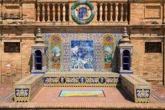 Dekoracyjna mozaika przy placem Espana w Seville pokazuje znacząco wydarzenia od każdy regionu Hiszpania Oviedo Lipiec 2018 zdjęcia stock