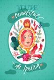 Dekoracyjna pionowo plakatowa pocztówka dedykująca wiosny i kobiety piękno royalty ilustracja