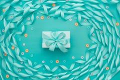 Dekoracyjna rama atłasowy tasiemkowy błękit Obraz Royalty Free