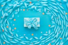 Dekoracyjna rama atłasowy tasiemkowy błękit Obraz Stock