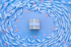 Dekoracyjna rama atłasowy tasiemkowy błękit Zdjęcia Royalty Free