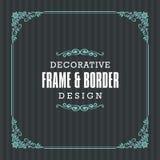 Dekoracyjna rama, granica z Ornamentacyjnym Kreskowym stylem Fotografia Stock