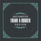 Dekoracyjna rama, granica z Ornamentacyjnym Kreskowym stylem Zdjęcie Royalty Free
