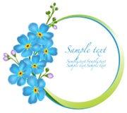 Dekoracyjna rama z niezapominajkowymi kwiatami Obraz Royalty Free