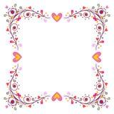 Dekoracyjna rama z sercami Obraz Stock