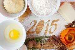 Dekoracyjna rejestracyjna inskrypcja 2015 zrobił mąka Obraz Stock