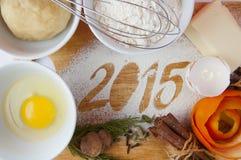 Dekoracyjna rejestracyjna inskrypcja 2015 zrobił mąka Fotografia Royalty Free