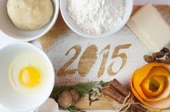 Dekoracyjna rejestracyjna inskrypcja 2015 zrobił mąka Zdjęcia Royalty Free
