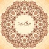 Dekoracyjna round rama w Indiańskim mehndi stylu Obraz Royalty Free