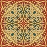 Dekoracyjna tło płytka w projekcie, beżu, brązie, czerwieni i zieleni art deco, Obrazy Royalty Free