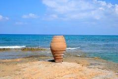 Dekoracyjna waza na Egejskim wybrzeżu Obraz Stock