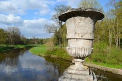 Dekoracyjna waza w Pavlovsk parku Zdjęcia Stock
