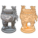 Dekoracyjna waza z nogami w azjata stylu Obraz Stock