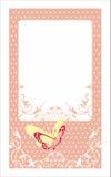 Dekoracyjna zaproszenie karta z motyla i polki kropkami Obrazy Royalty Free
