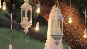 Dekoracyjne antykwarskie Edison stylu drucika żarówki wiesza w drewnach, szklany lampion, lampowy dekoracja ogród przy zdjęcie wideo