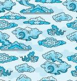 Dekoracyjne chmury. Bezszwowy tło. Zdjęcie Stock